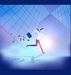 abstract business people running with building vector image