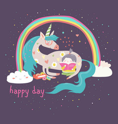 cute cartoon girl with unicorn vector image