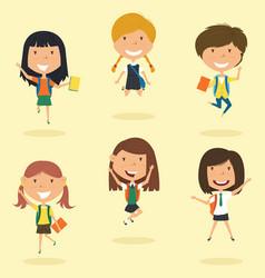 happy school girls jumping outdoor vector image vector image