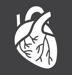 human heart glyph icon medicine healthcare vector image vector image