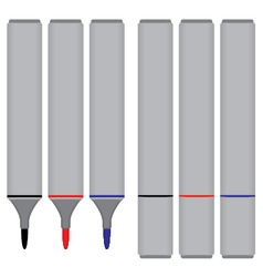 Marker Black Red Blue with cover isolated on white vector image