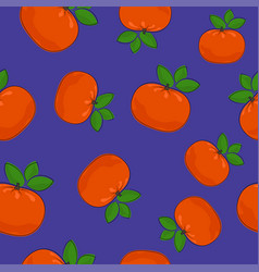 seamless pattern mandarin on purple background vector image
