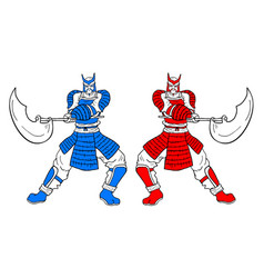two warrior vector image