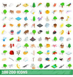100 zoo icons set isometric 3d style vector image vector image