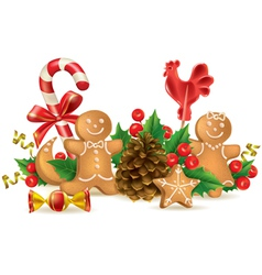 Christmas candy and decorations vector