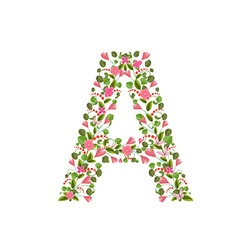 Floral font with with spring pink flowers Romantic vector image