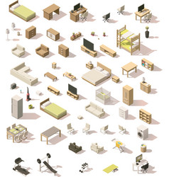 isometric low poly domestic furniture set vector image