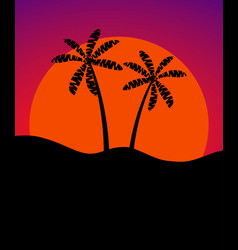 palm trees against the background of the sun vector image vector image