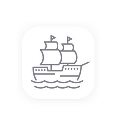 sailing vessel old ship line icon vector image