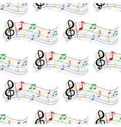 Seamless colorful music notes pattern vector