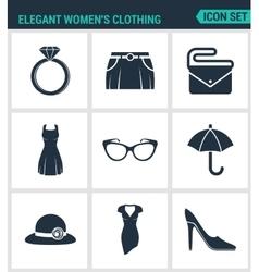 Set of modern icons Elegant women s vector image