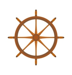 Yacht or sheep wheel rudder flat style vector image