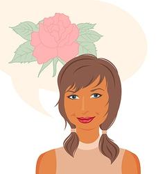 attractive girl dreams of roses vector image vector image