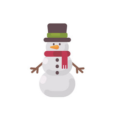 christmas snowman in a hat and scarf flat icon vector image