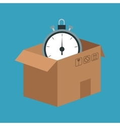 delivery concept cardboard box clock time vector image vector image