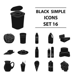 milk product and sweet set icons in black style vector image vector image
