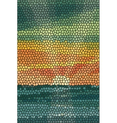 Mosaic abstract sea or ocean shore vector image