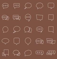 Speech Bubble line color icons on brown background vector image