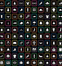 100 clothes icons set vector image