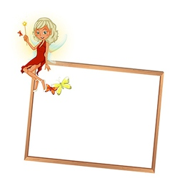 A fairy with a red dress and an empty signboard vector image
