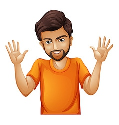A man wearing an orange tshirt vector