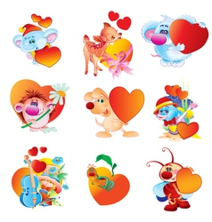 A set of animals with hearts valentine s day vector