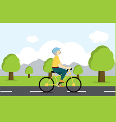 Active senior on bicycle old age tourist vector