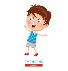 Angry kid emotion vector