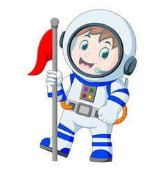 astronaut in white spacesuit on white background vector image