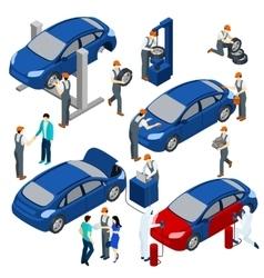 Auto Service Concept Set vector