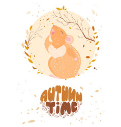 autumn has come autumn time lettering the rat is vector image