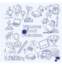 Back to school set of kids doodles with bus books vector image vector image