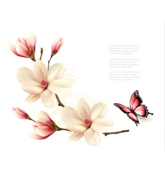 Beautiful white magnolia branch with a butterfly vector image