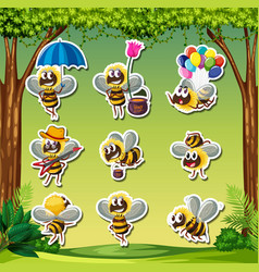 bee characater sticker nature background vector image