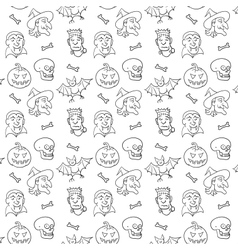 black and white textile halloween pattern vector image
