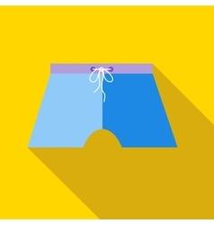Blue swim trunks icon flat style vector image