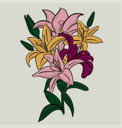 bouquet of lilac and yellow lilies with green vector image