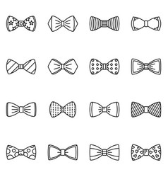 Bowtie icon set outline style vector