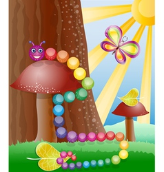 Cartoon picture with nature butterly and caterpil vector image