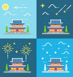 Chandeokgung palace flat design vector image