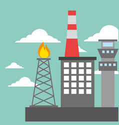 Chemical plant refinery burning tower oil industry vector