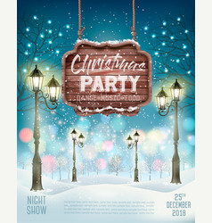 christmas holiday party flyer background with vector image