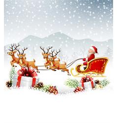 Christmas santa riding his reindeer sleight vector