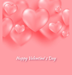coral valentine s day background with tender 3d vector image