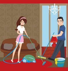 couple cleaning at home vector image
