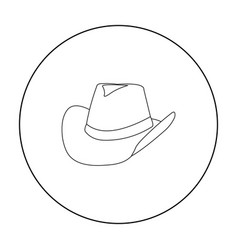 cowboy hat icon outline singe western icon from vector image
