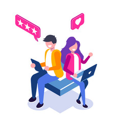 Customer review isometric concept usability vector