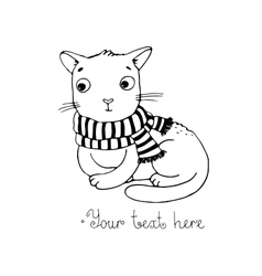 Cute cartoon cat and scarf vector image