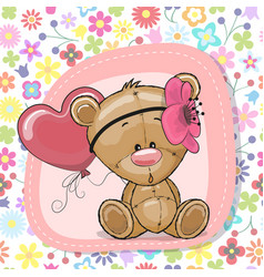 Cute cartoon teddy bear girl with balloon vector