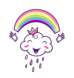Cute cloud character with colorful rainbow vector